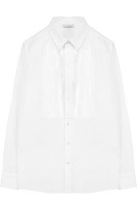 Детская хлопковая сорочка под смокинг DOLCE & GABBANA белого цвета, арт. 0131/L41S70/FU5GK/8-12 | Фото 1