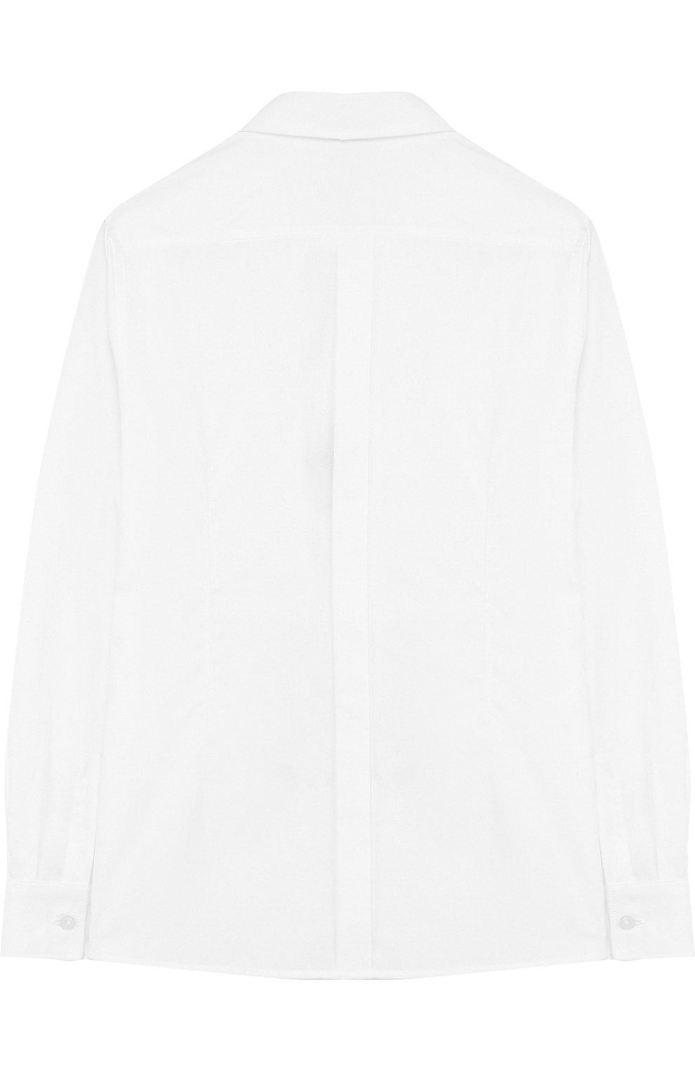 Детская хлопковая сорочка под смокинг Dolce & Gabbana белого цвета   Фото №2