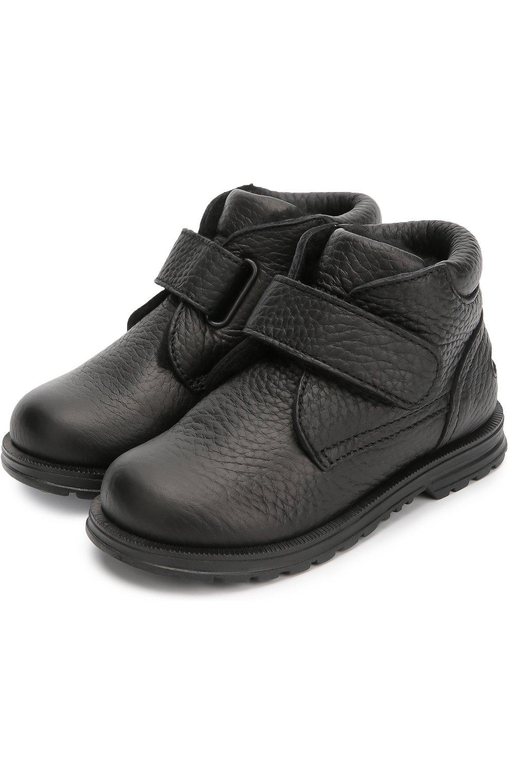 Кожаные ботинки с застежкой велькро | Фото №2