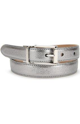Ремень из металлизированной кожи Dolce & Gabbana серебряный | Фото №1