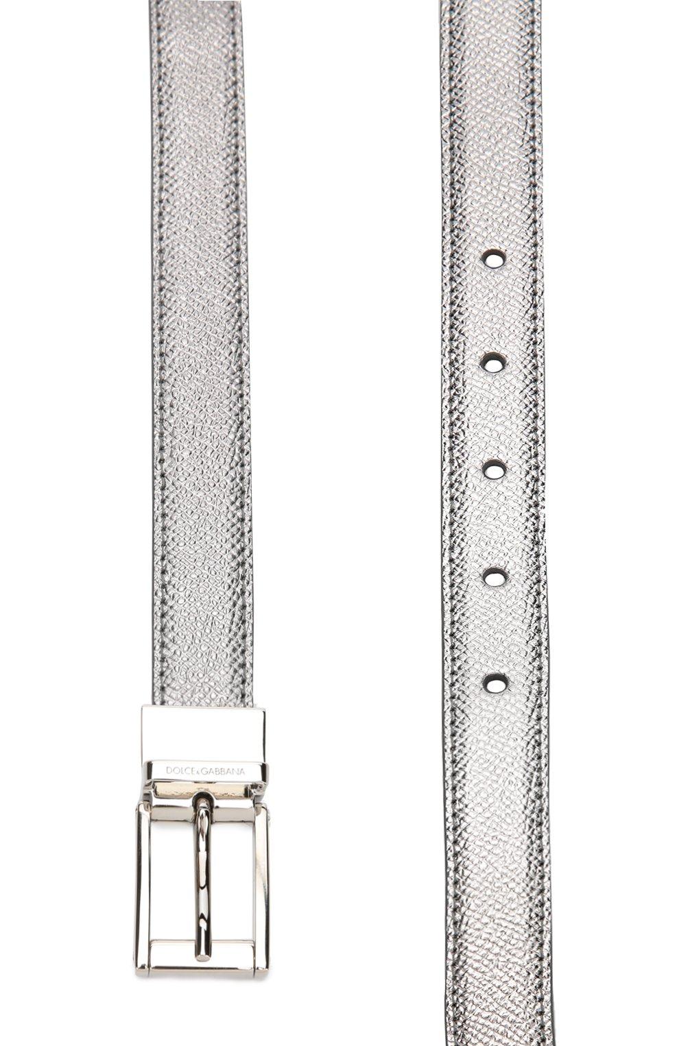 Ремень из металлизированной кожи Dolce & Gabbana серебряный | Фото №2