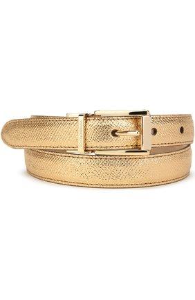 Ремень из металлизированной кожи Dolce & Gabbana золотой   Фото №1