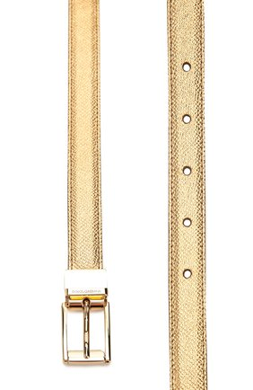 Ремень из металлизированной кожи Dolce & Gabbana золотой   Фото №2