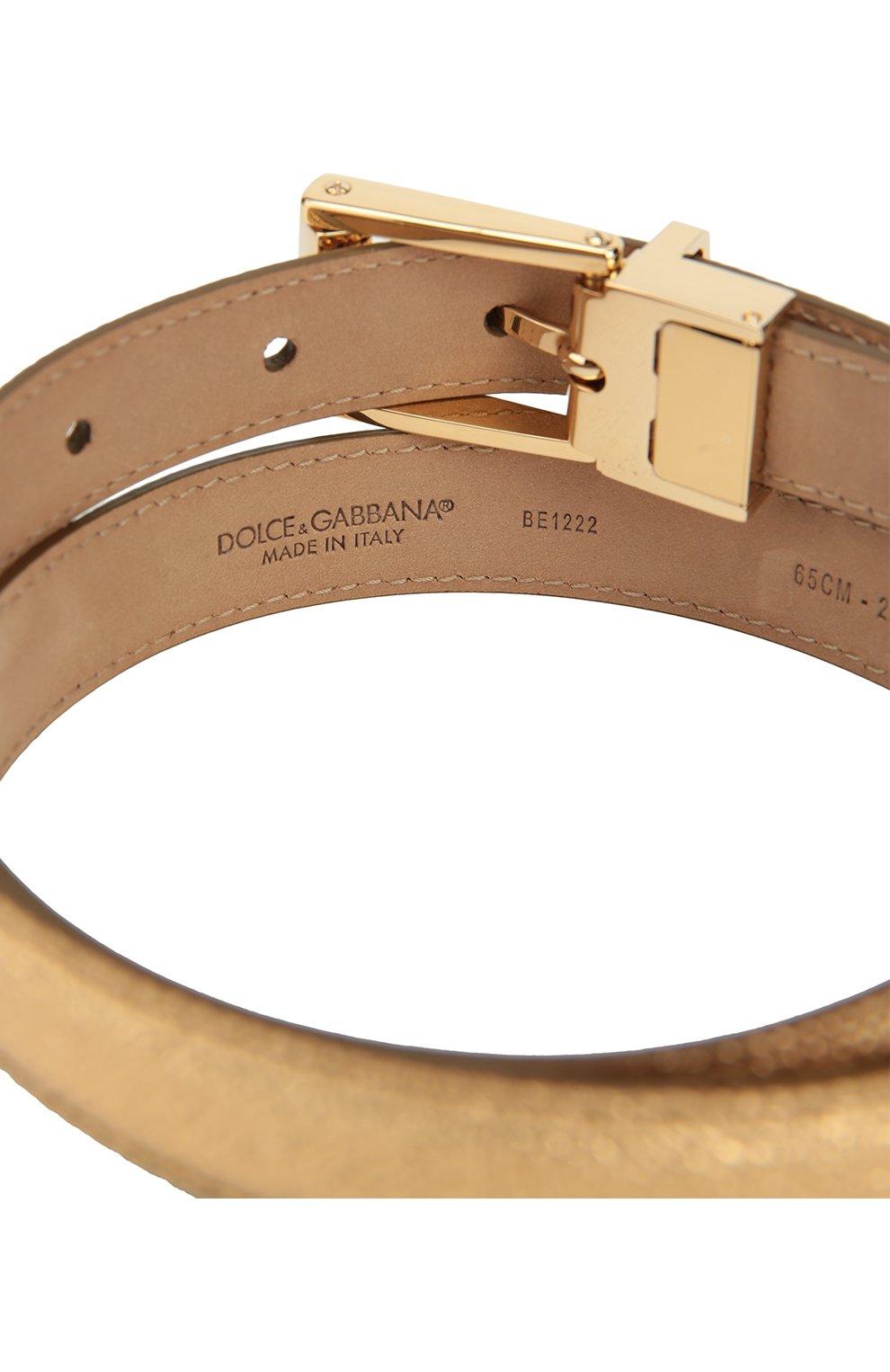 Ремень из металлизированной кожи Dolce & Gabbana золотой   Фото №3