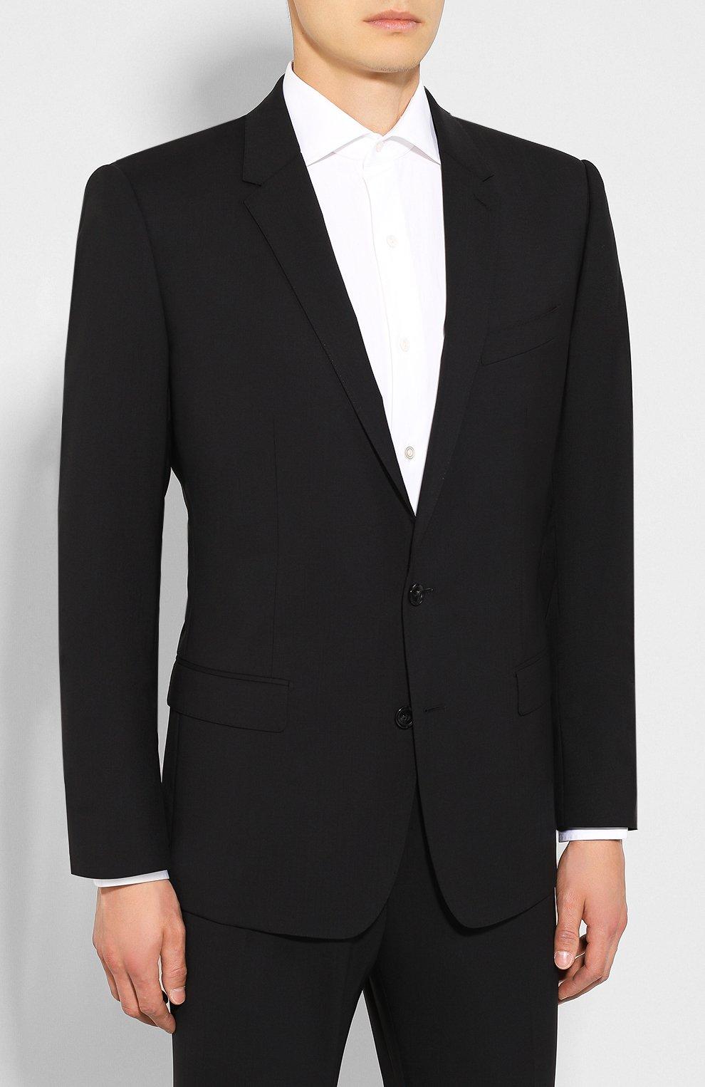 Шерстяной костюм Dolce & Gabbana черный | Фото №2