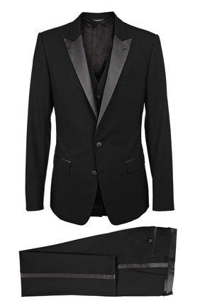 Смокинг-тройка с остроконечными лацканами Dolce & Gabbana черный | Фото №1