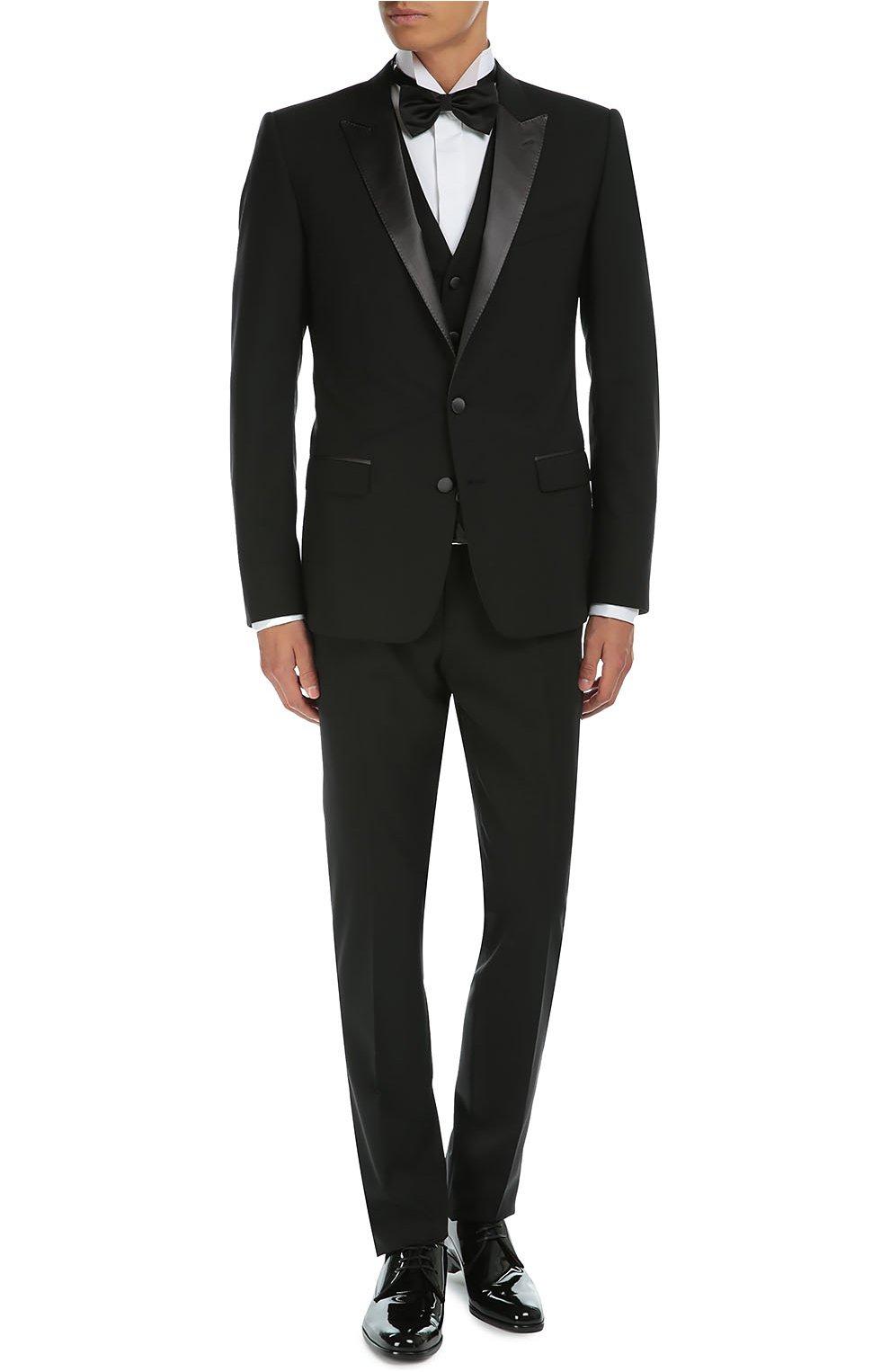 Смокинг-тройка с остроконечными лацканами Dolce & Gabbana черный | Фото №2