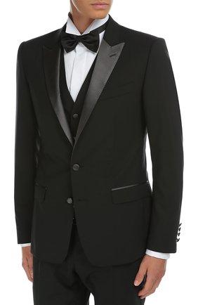 Смокинг-тройка с остроконечными лацканами Dolce & Gabbana черный | Фото №3