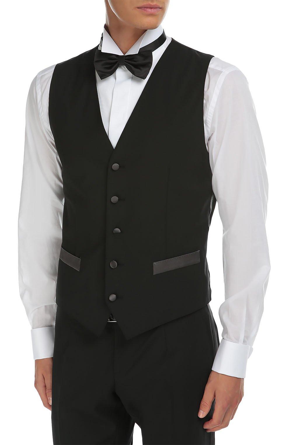 Смокинг-тройка с остроконечными лацканами Dolce & Gabbana черный | Фото №5