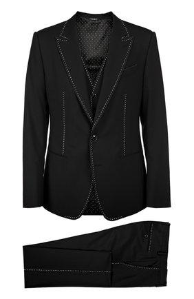 Костюм-тройка с контрастной прострочкой Dolce & Gabbana черный   Фото №1