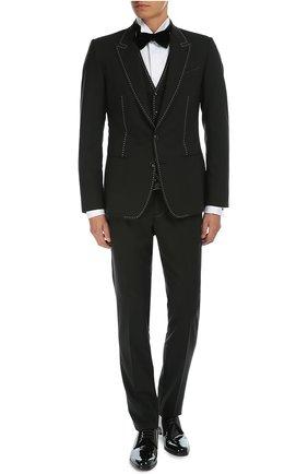 Костюм-тройка с контрастной прострочкой Dolce & Gabbana черный   Фото №2
