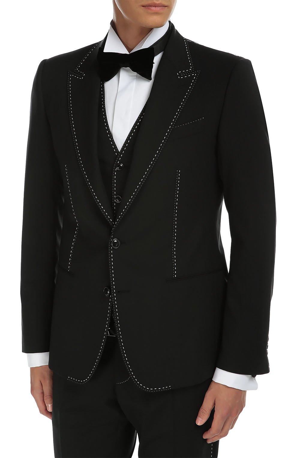Костюм-тройка с контрастной прострочкой Dolce & Gabbana черный   Фото №3