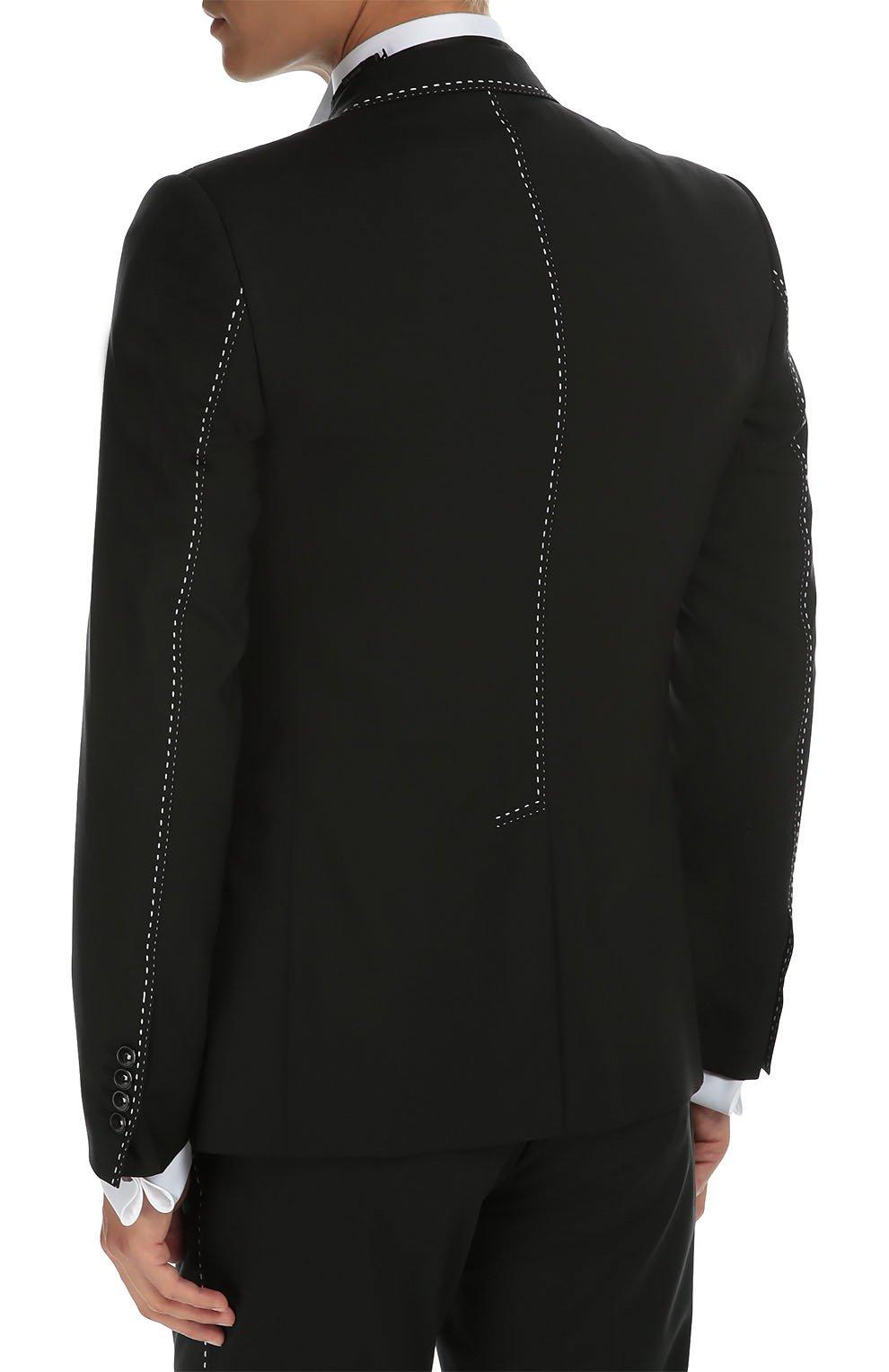 Костюм-тройка с контрастной прострочкой Dolce & Gabbana черный   Фото №4