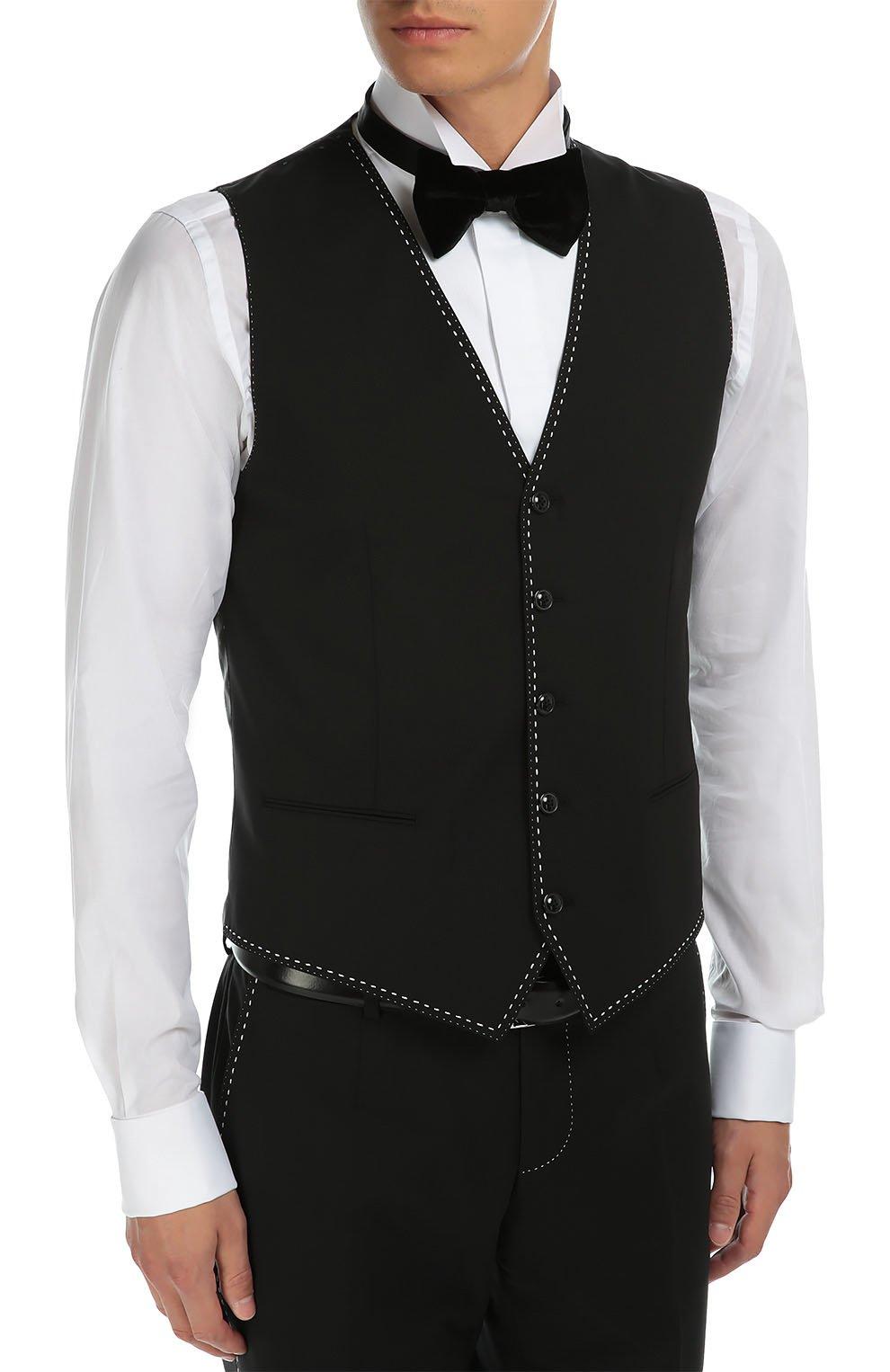 Костюм-тройка с контрастной прострочкой Dolce & Gabbana черный   Фото №5