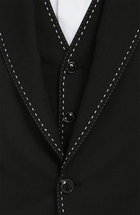 Костюм-тройка с контрастной прострочкой Dolce & Gabbana черный   Фото №9