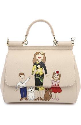 Сумка Sicily medium new с аппликацией DG FAMILY Dolce & Gabbana бежевая цвета | Фото №1