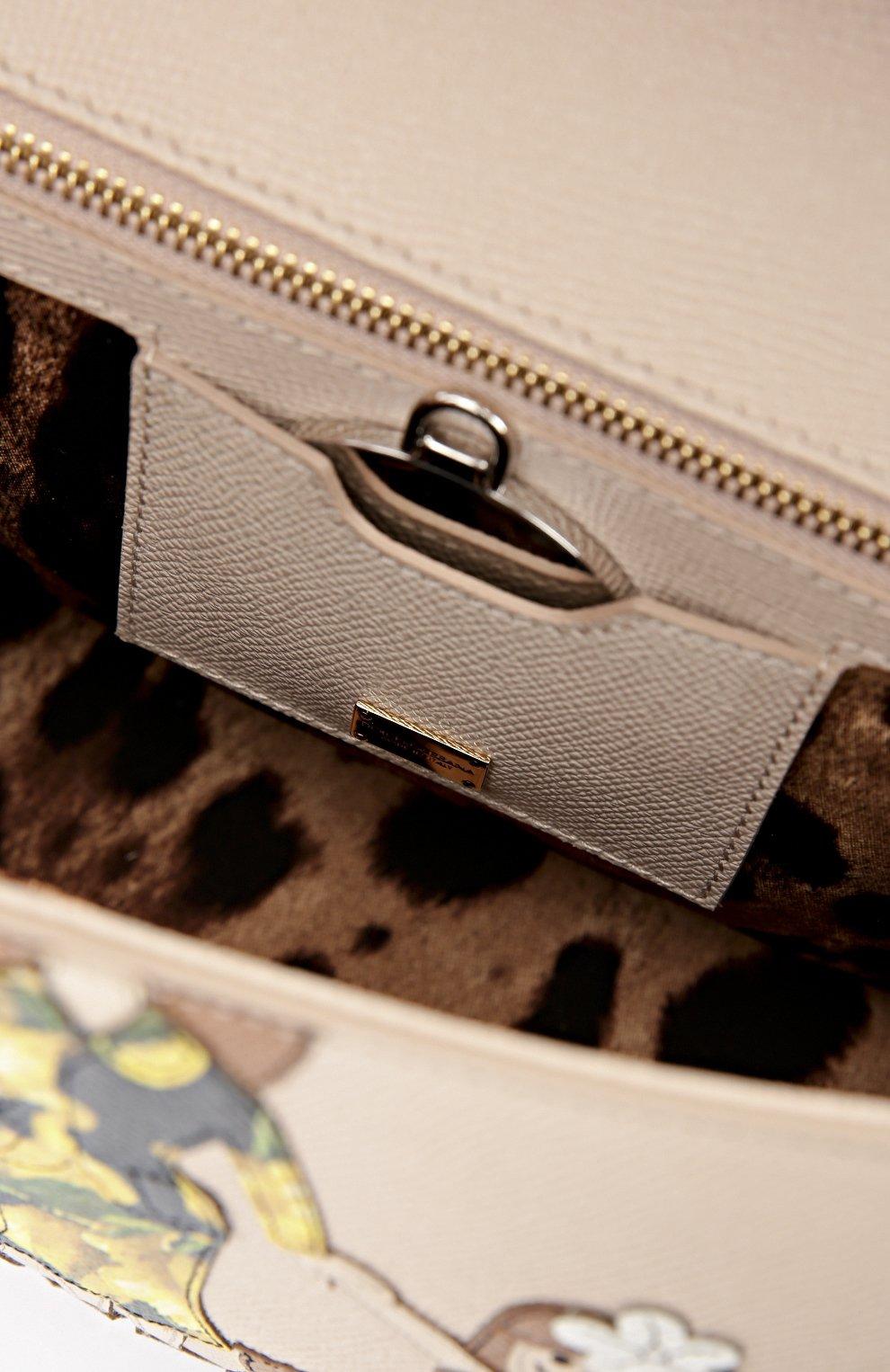Сумка Sicily medium new с аппликацией DG FAMILY Dolce & Gabbana бежевая цвета | Фото №4