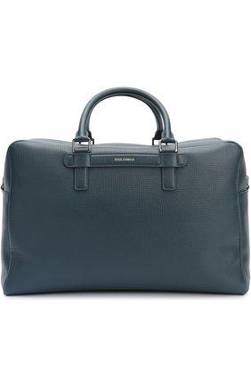 Дорожная сумка Mediterraneo из тисненой кожи Dolce & Gabbana синяя | Фото №1