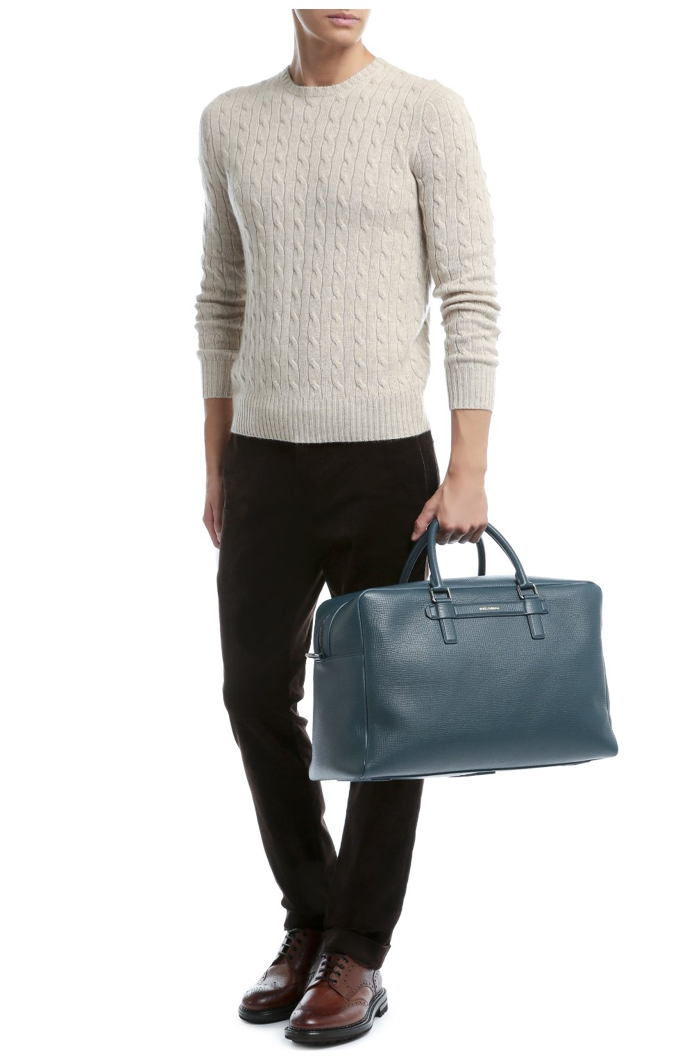 Дорожная сумка Mediterraneo из тисненой кожи Dolce & Gabbana синяя | Фото №2