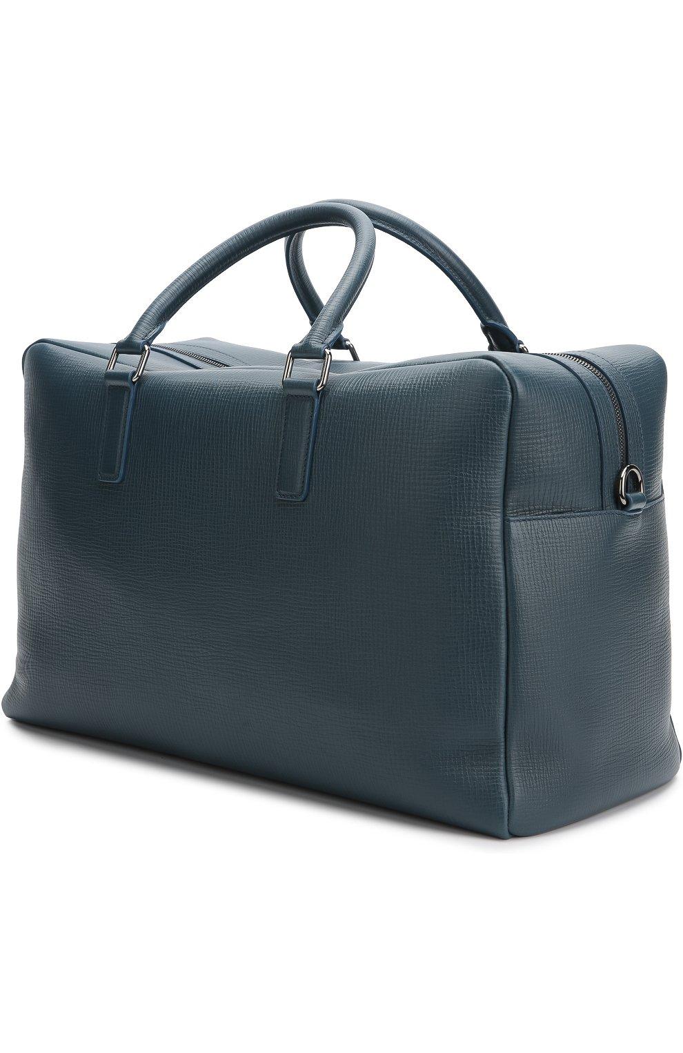 Дорожная сумка Mediterraneo из тисненой кожи Dolce & Gabbana синяя | Фото №3
