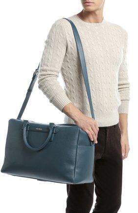 Дорожная сумка Mediterraneo из тисненой кожи Dolce & Gabbana синяя | Фото №5