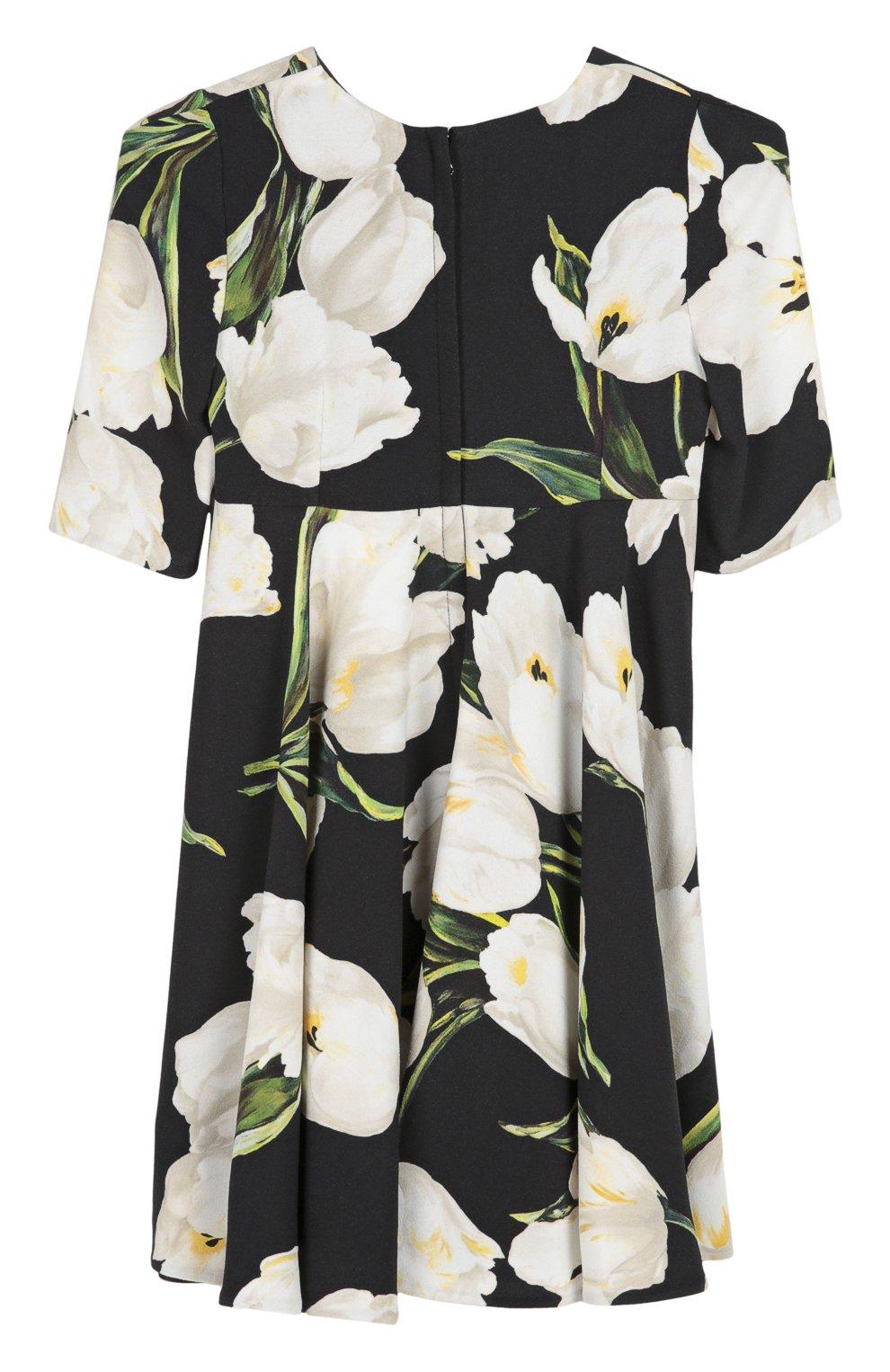 Детское платье из вискозы с принтом Dolce & Gabbana черно-белого цвета   Фото №2