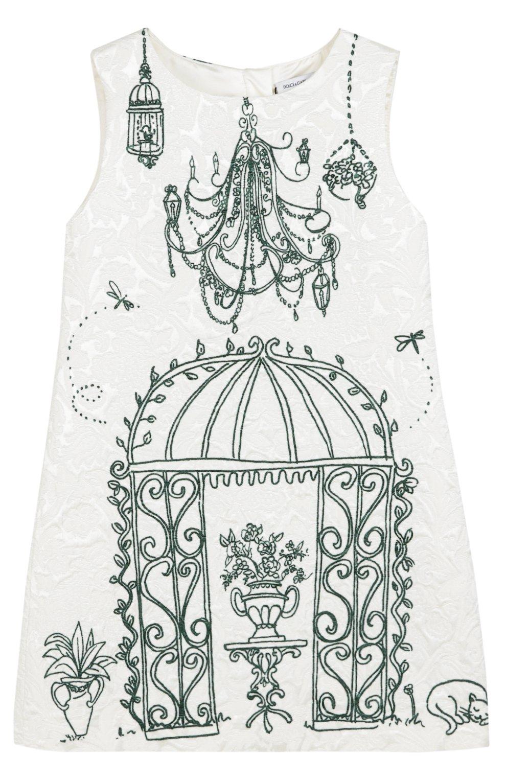 Платье из смеси вискозы и хлопка с принтом | Фото №1