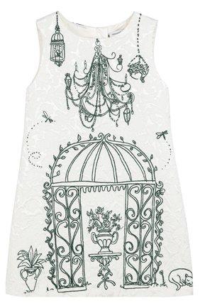 Детское платье из смеси вискозы и хлопка с принтом Dolce & Gabbana белого цвета | Фото №1