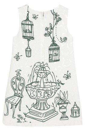 Детское платье из смеси вискозы и хлопка с принтом Dolce & Gabbana белого цвета | Фото №2