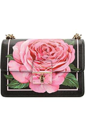 Сумка Rosalia small с принтом Dolce & Gabbana розовая цвета | Фото №1