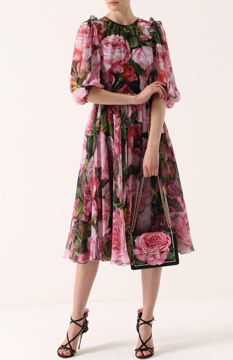 Сумка Rosalia small с принтом Dolce & Gabbana розовая цвета | Фото №2