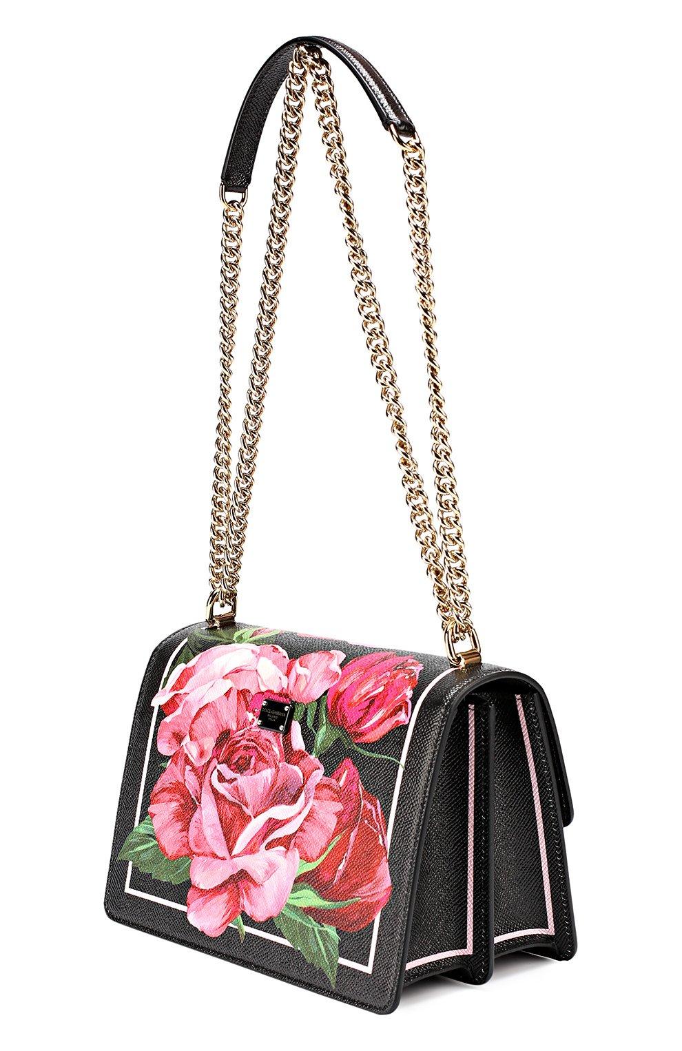 Сумка Rosalia small с принтом Dolce & Gabbana розовая цвета | Фото №3