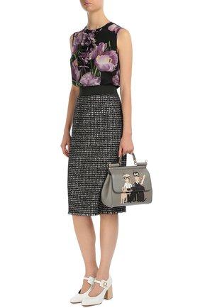 Буклированная юбка прямого кроя с широким поясом Dolce & Gabbana серая | Фото №2