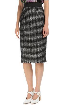 Буклированная юбка прямого кроя с широким поясом Dolce & Gabbana серая | Фото №3