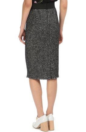 Буклированная юбка прямого кроя с широким поясом Dolce & Gabbana серая | Фото №4