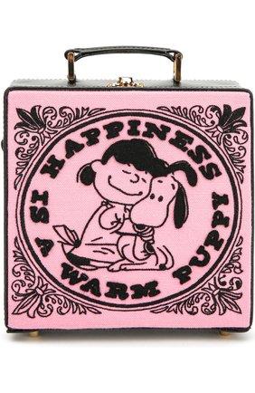 Сумка-сундук 7 inch с вышивкой Olympia Le-Tan розовая цвета   Фото №1