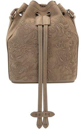 Замшевая сумка Floral Drawstring small с вышивкой | Фото №1