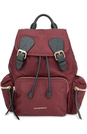 Рюкзак среднего размера с кожаной отделкой | Фото №1
