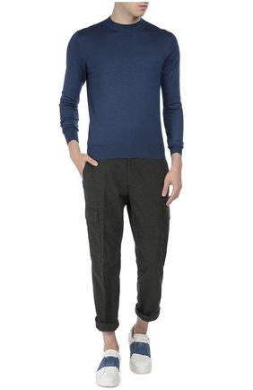 Мужской джемпер тонкой вязки из смеси кашемира и шелка CRUCIANI темно-синего цвета, арт. CU512 | Фото 2