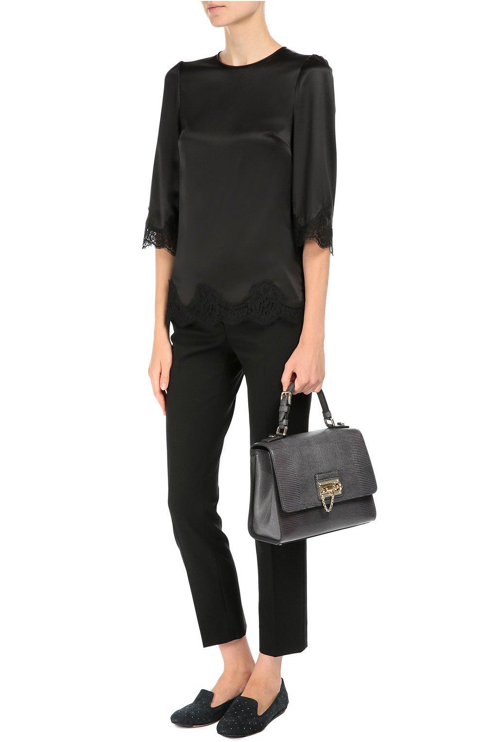 Сумка Monica с тиснением под игуану  Dolce & Gabbana серая цвета   Фото №2
