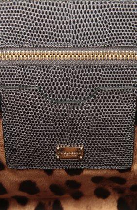 Сумка Monica с тиснением под игуану  Dolce & Gabbana серая цвета   Фото №4