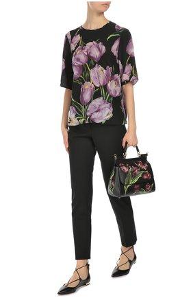 Сумка Sicily medium с цветочным принтом Dolce & Gabbana бордовая цвета | Фото №2