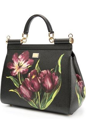 Сумка Sicily medium с цветочным принтом Dolce & Gabbana бордовая цвета | Фото №3