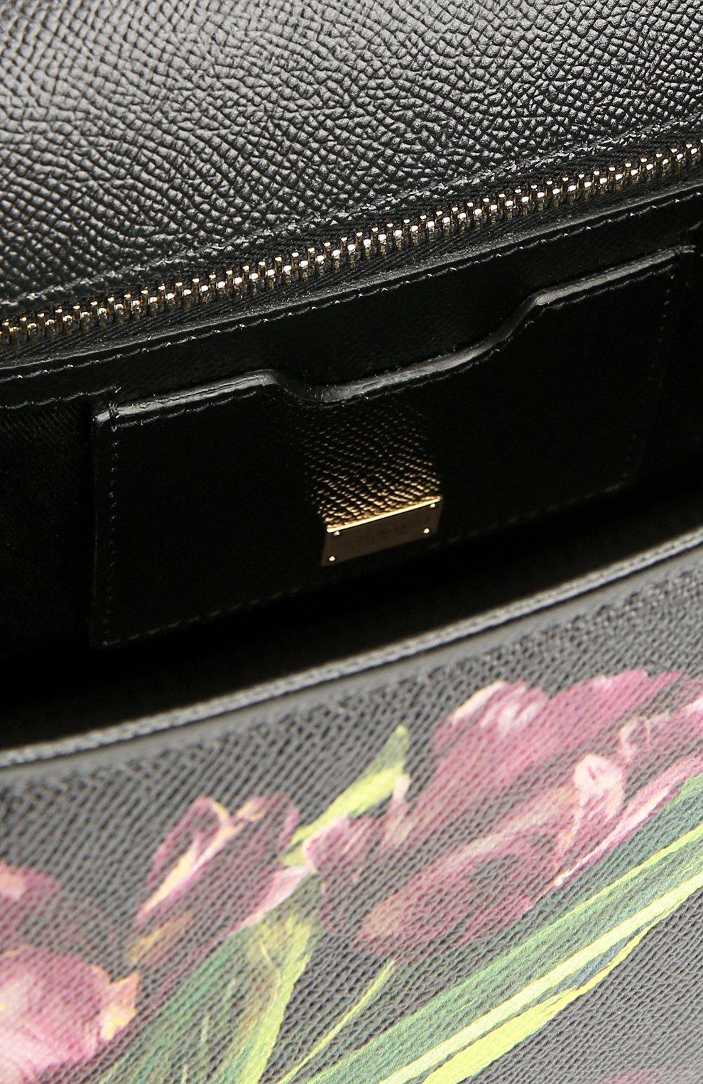 Сумка Sicily medium с цветочным принтом Dolce & Gabbana бордовая цвета | Фото №4