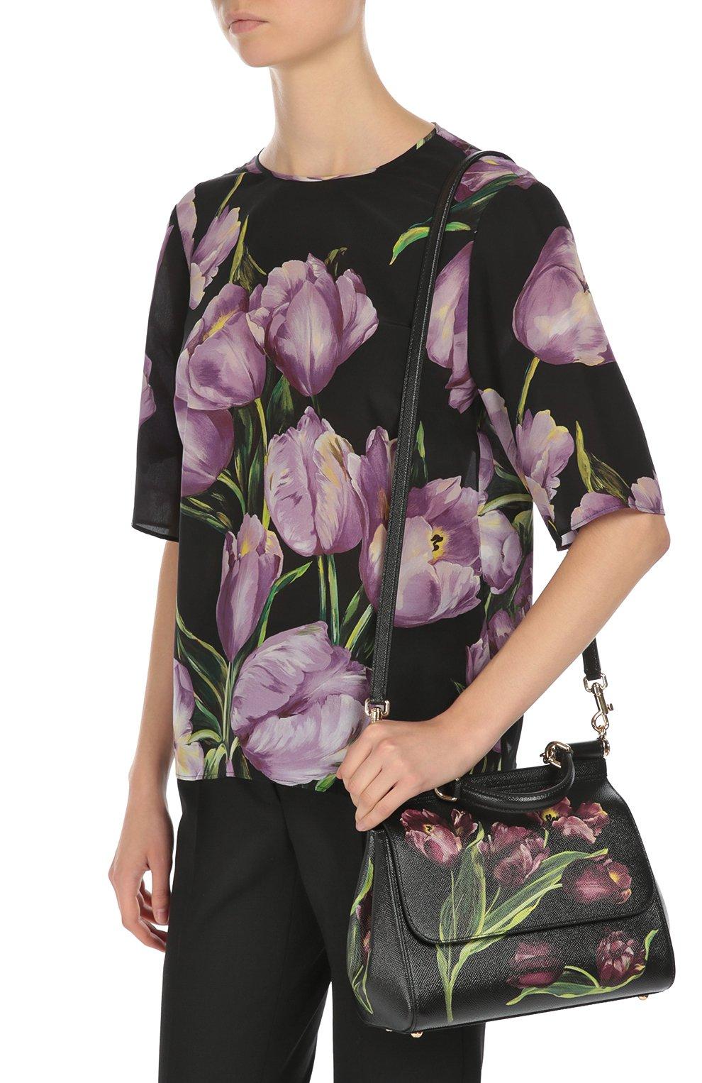 Сумка Sicily medium с цветочным принтом Dolce & Gabbana бордовая цвета | Фото №5