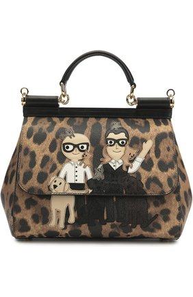 Сумка Sicily medium new с аппликацией DG Family Dolce & Gabbana леопардовая цвета   Фото №1