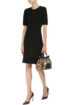 Сумка Sicily medium new с аппликацией DG Family Dolce & Gabbana леопардовая цвета   Фото №2