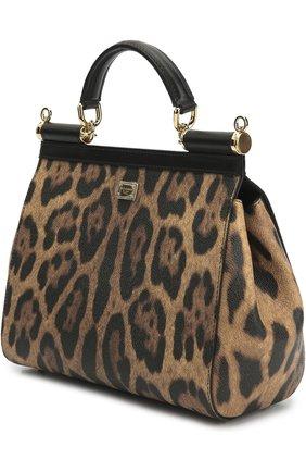 Сумка Sicily medium new с аппликацией DG Family Dolce & Gabbana леопардовая цвета   Фото №3