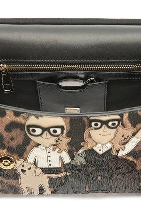 Сумка Sicily medium new с аппликацией DG Family Dolce & Gabbana леопардовая цвета   Фото №4