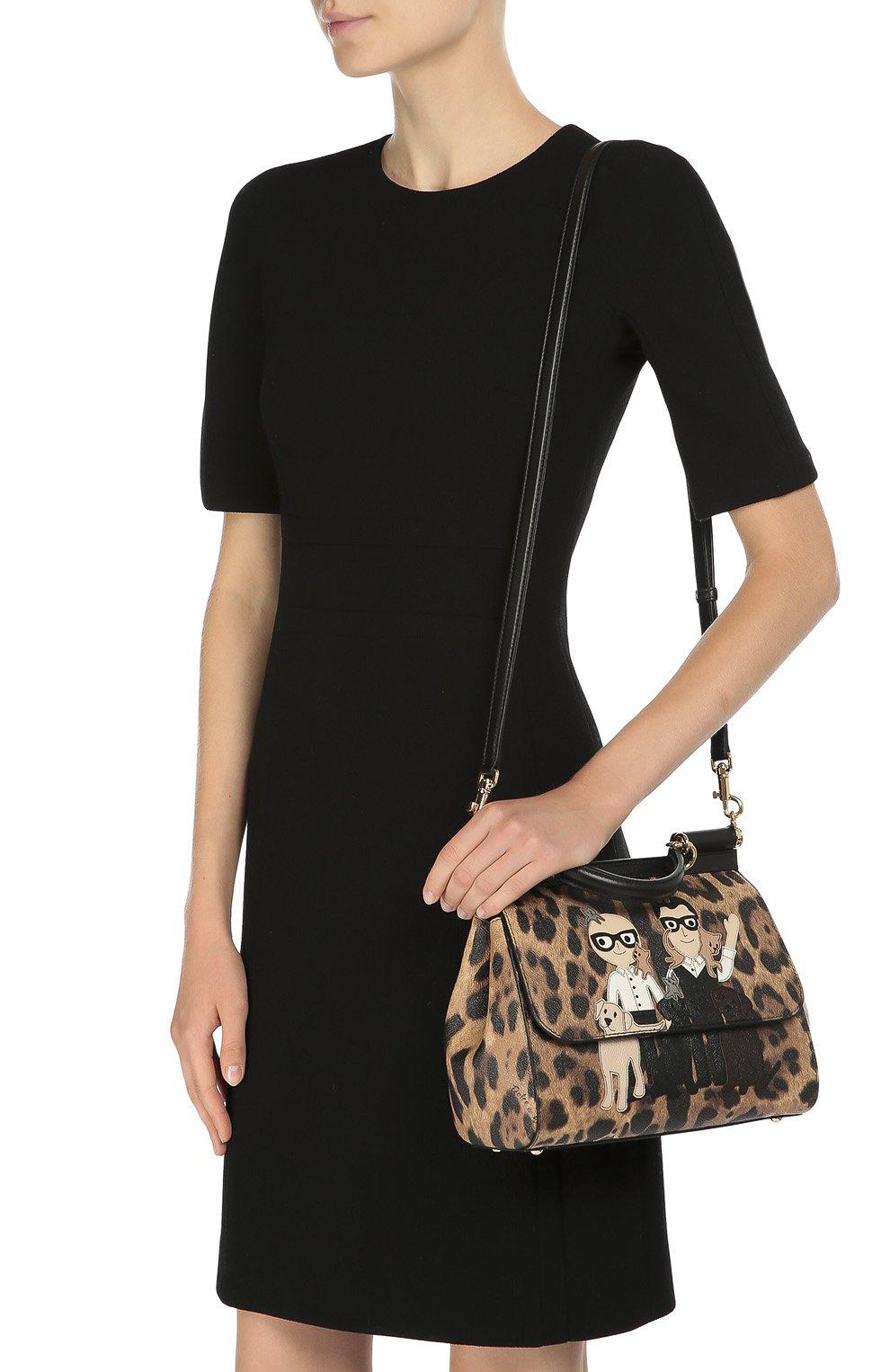 Сумка Sicily medium new с аппликацией DG Family Dolce & Gabbana леопардовая цвета   Фото №5